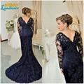 Hot venda 2016 nova azul Royal Mermaid Lace Appliqued mãe da noiva vestidos apliques contas longas mangas Formal vestido de noite