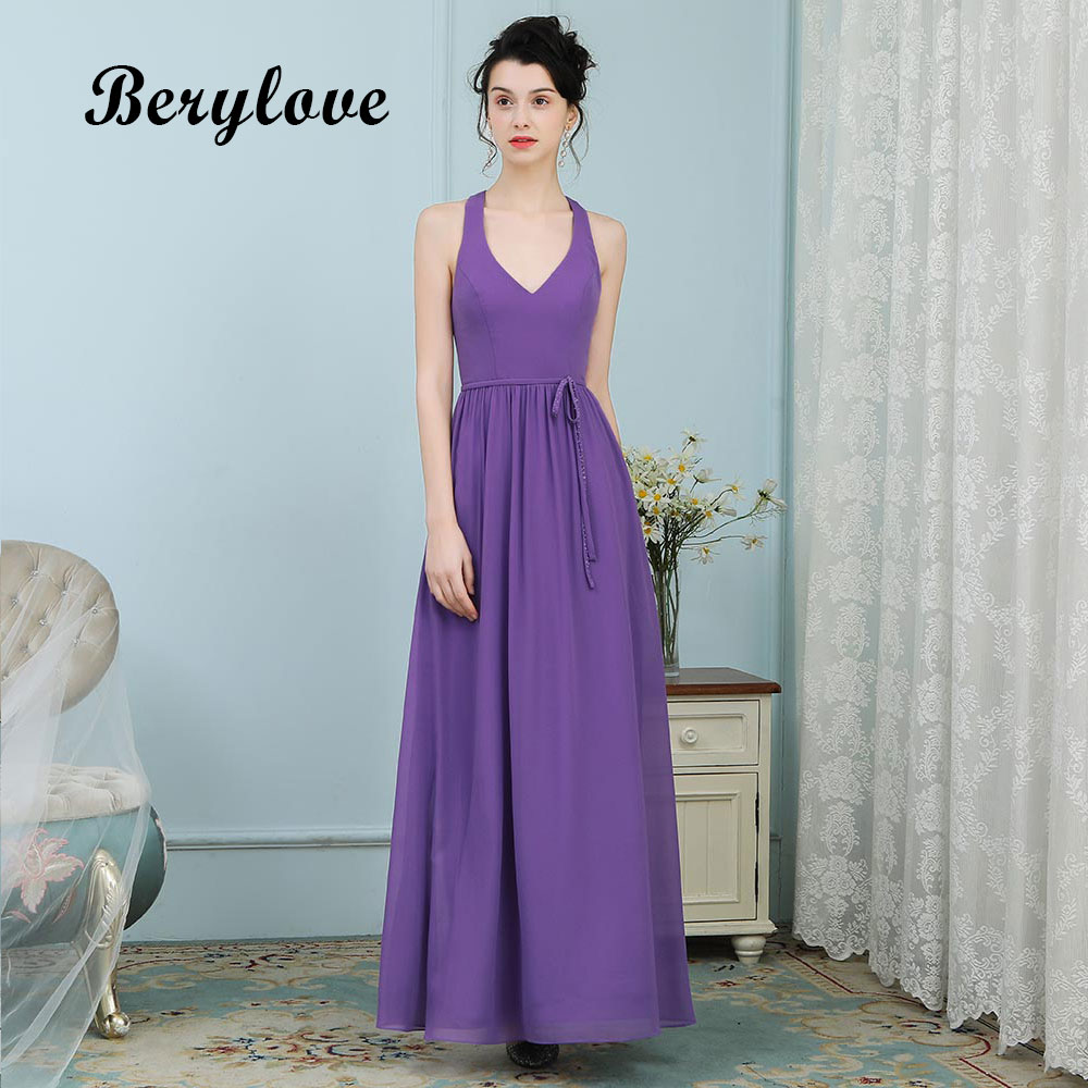 BeryLove Simple Evening Dresses Long V Neck Purple Prom Dresses 2018 Women  Formal Party Gowns For Prom Wedding Party Dresses deacee5764e2