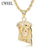 Jesus Head Pendant Necklace For Women Men Christian African Beads Gold Plated Holiday Statement Vintage Choker