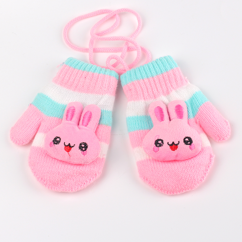 Winter Children Gloves  Cotton Baby Mittens Double Warm Gloves Character Kids Gloves Hanging Knitted Gloves Baby Girls Clothing
