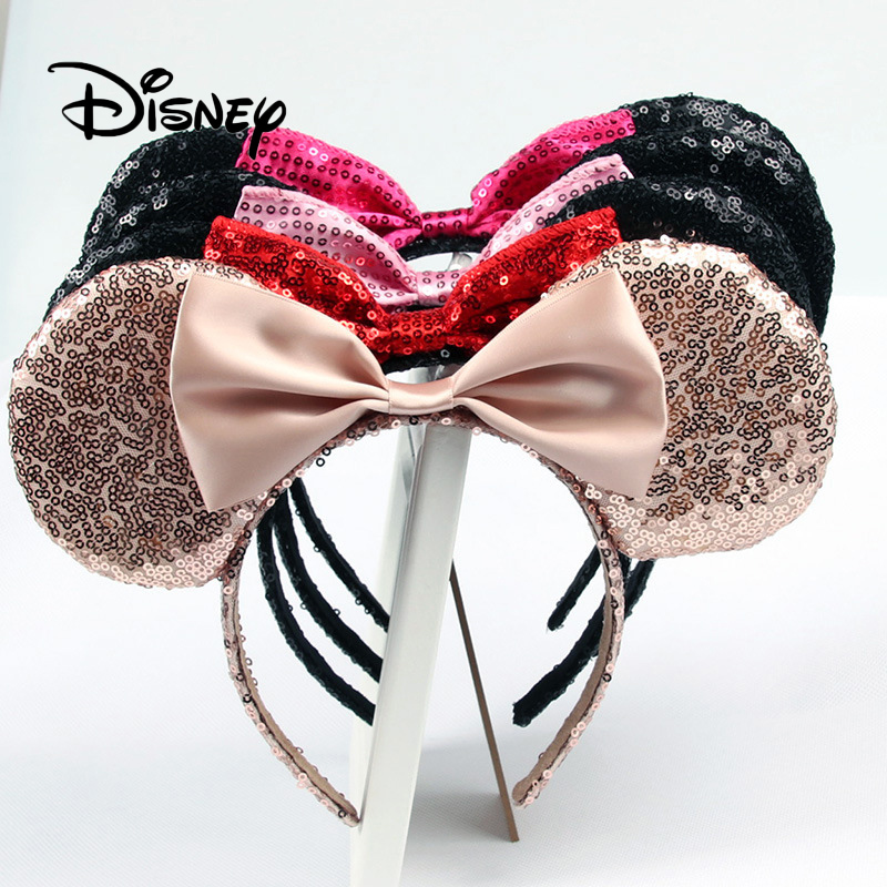 Disney Pretend Play Game Toy Fashion Beauty And Beauty Toys Girl Hair Band Sequin Bow Mickey Minnie Ears Birthday Gifts