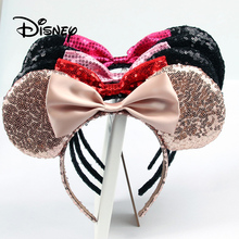 Disney Pretend Play Game Toy Fashion Beauty And Toys Girl Hair Band Sequin Bow Mickey Minnie Ears Birthday Gifts