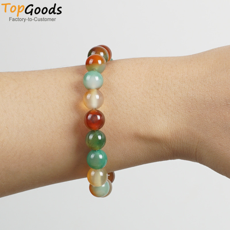 TopGoods Natural Peacock Agate Beaded Stretch