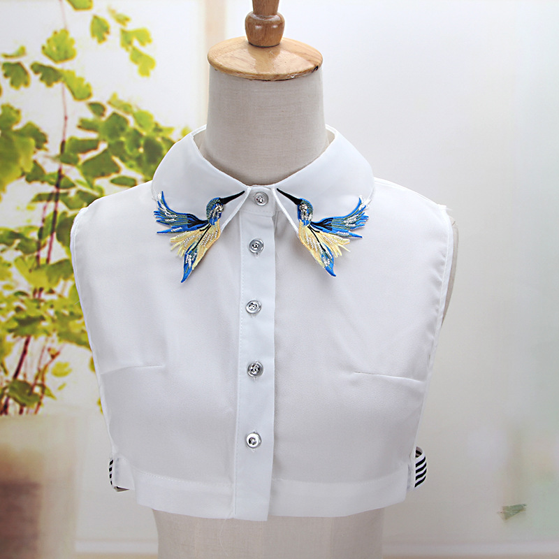 Colouful Embroidery Birds Collar Shirt Fake Collar Removable Peto Mujer Chemisier Faux Cols Autumn Fall Elegant Nep Kraagie