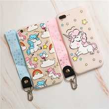 Cartoon Cute Unicorn Soft TPU Cases For iPhone 6S 8 7 6 S Plus Painted Coque X XS Max XR Lanyard Phone Capa