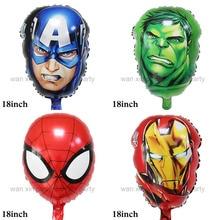 (12pcs/lot) Avengers foil balloons head style ironman Captain America spiderman hulk helium for avengers party