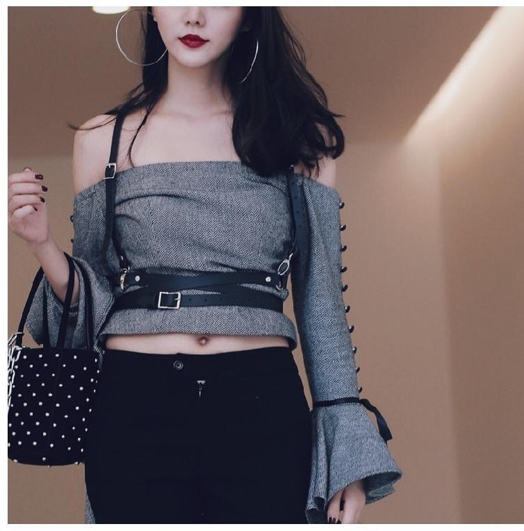 11cd3276425 Dark Rock street strap Leather Harness Body Waist Belt Straps Adjustable  Buckle Women Belts Girdle belly leather SuspendersUSD 20.26 piece. B1 B2 ...
