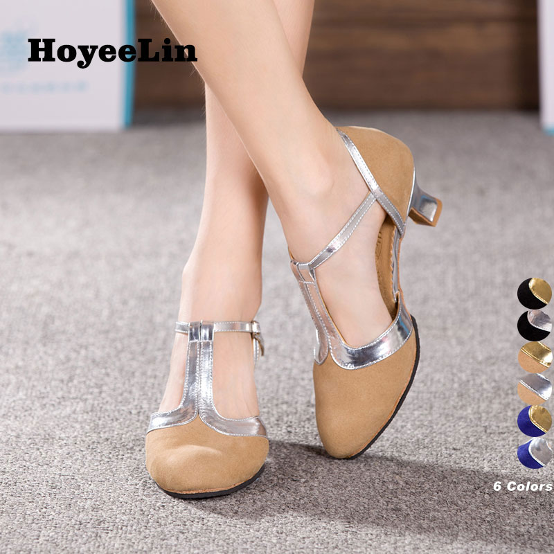 HoYeeLin Tango Shoes Women Ladies Ballroom Party Waltz Dancing Heels Closed Toe Indoor Outsole Dance Shoes