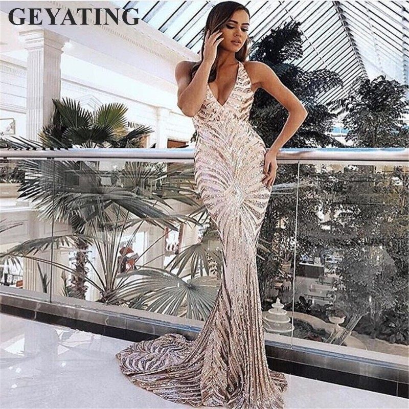 Image 3 - Sexy Rose Gold Sequin Backless Prom Dresses Mermaid 2019 Long Spaghetti Straps Black Maxi Women Formal Evening Party Dress Cheap-in Prom Dresses from Weddings & Events