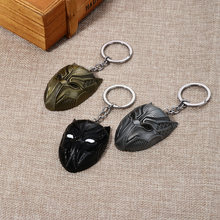1PC Marvel Movie Captain America Civil War Black Keychains Panther Metal Pendant Keyrings Vintage Key Chain Chaveiro Key Ring(China)
