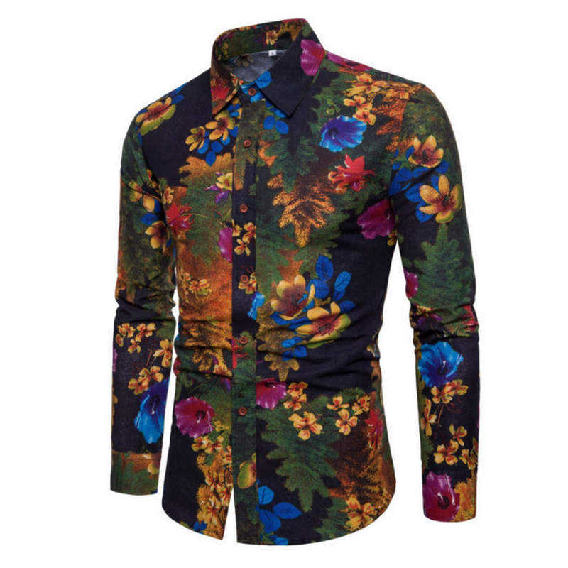 2019 New Fashion Casual Men Shirt Long Sleeve Europe Style Slim Fit Shirt Men High Quality Cotton Floral Shirts Mens Clothes
