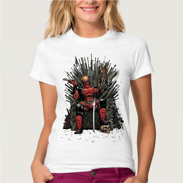 Game Of Thrones Deadpool on the Iron Throne Cotton Casual Women's T-shirt