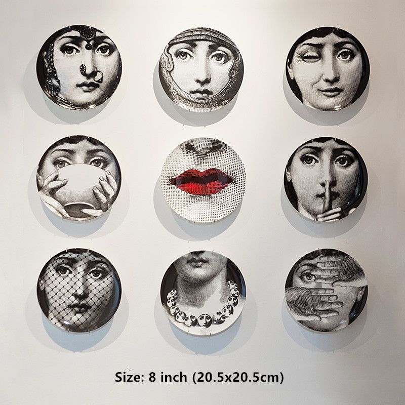 8-Inch Fornasetti Plate Home Decor Porcelain Artwork Wall Plate Hanging Decorations High Quality Dinner Plate