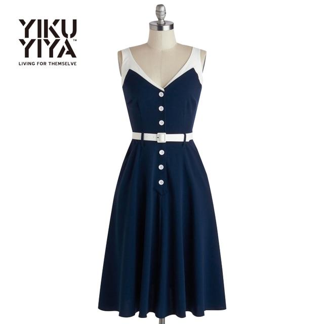 YIKUYIYA Navy V-neck Braces Split Vintage Dresses Sleeveless Single Breasted Sash A-line Dress High Waist Backless Slim Dresses