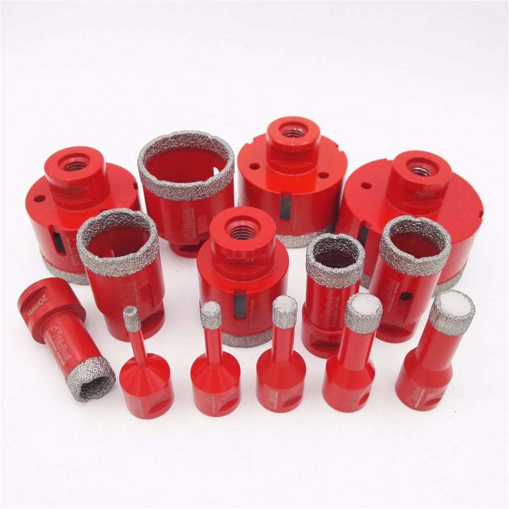 DIATOOL 1pc Vacuum Brazed Diamond Drilling Core Bits With M14 Connection Drill Bits 10MM Diamond Height Hole Saw diatool 4pcs set vacuum brazed diamond drilling core bits with 15mm diamond height 20 28 32 38mm hole saw m14 connection
