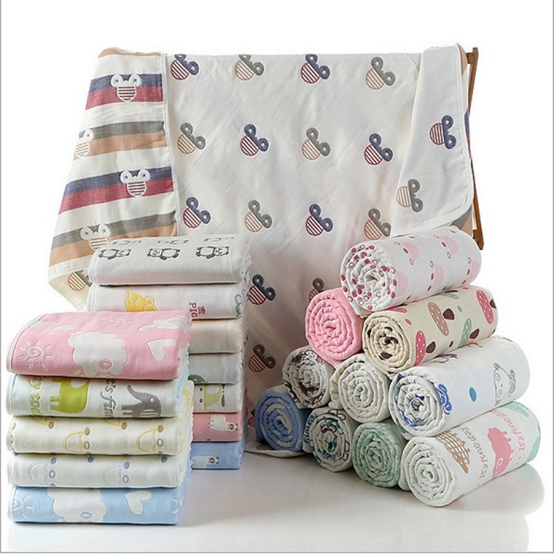 Child Summer Cotton Muslin 6 Layers Gauze Newborn  Baby Blankets Bedding Infant Soft Gauze Bath Towel Kids Boys Girls Play Mat