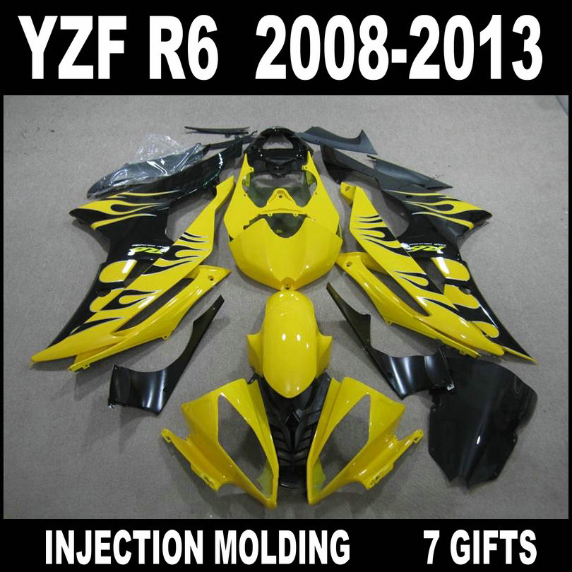 High quality parts for <font><b>2008</b></font> 2009 - 2013 YAMAHA <font><b>R6</b></font> <font><b>fairings</b></font> yellow black flames 08 09 10 11 12 13 <font><b>YZF</b></font> <font><b>R6</b></font> <font><b>fairing</b></font> <font><b>set</b></font> JGL95 image