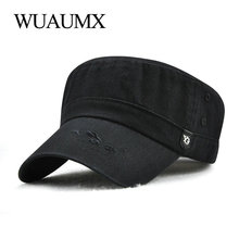 Wuaumx NEW Spring Summer Military Hat Men Casual Cap For Women Flat Top Army Solid Color Trucker Adjustable