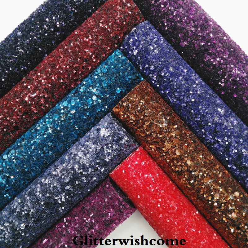 Glitterwishcome 21X29CM A4 Size Synthetic Leather, Dark Colors Chunky Glitter Leather,  Fabric Vinyl For Bows, GM040A