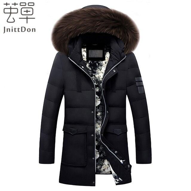 бесплатная доставка! 2016 Толстая теплая зима утка вниз куртки для мужчин меховой воротник ветровки с капюшоном пальто высокого качества пуховик