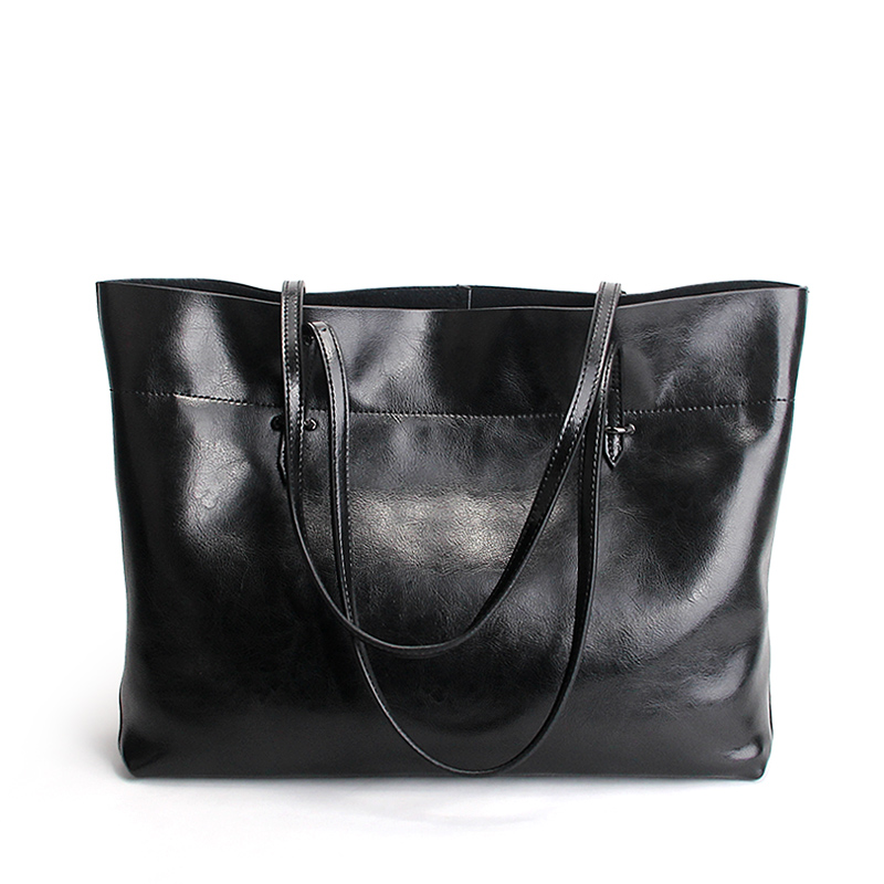 Famous Brand Women Totes Oil Wax Leather Ladies Shopping Bag Large Capacity Fashion Female Handbags Shoulder Bag Big Size Solid ladies bag 2017 new trend fashion handbags large capacity shopping bag genuine leather bag simple shoulder ladies bag bbh1387
