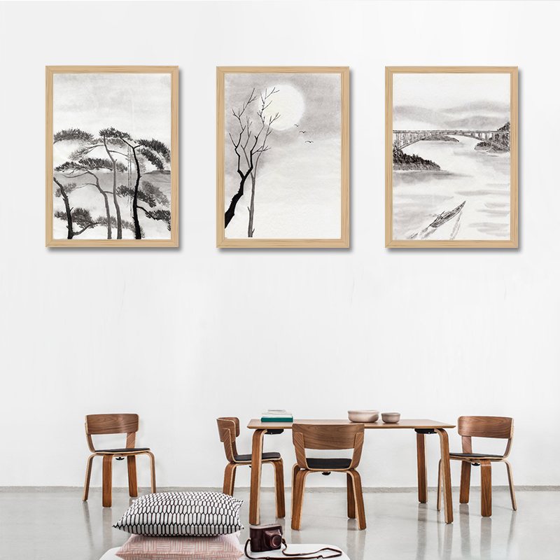 Retro Chinese style ink landscape Wall Art Canvas Print Poster, Wall Painting for Livingroom Decoration,Hoom Decor