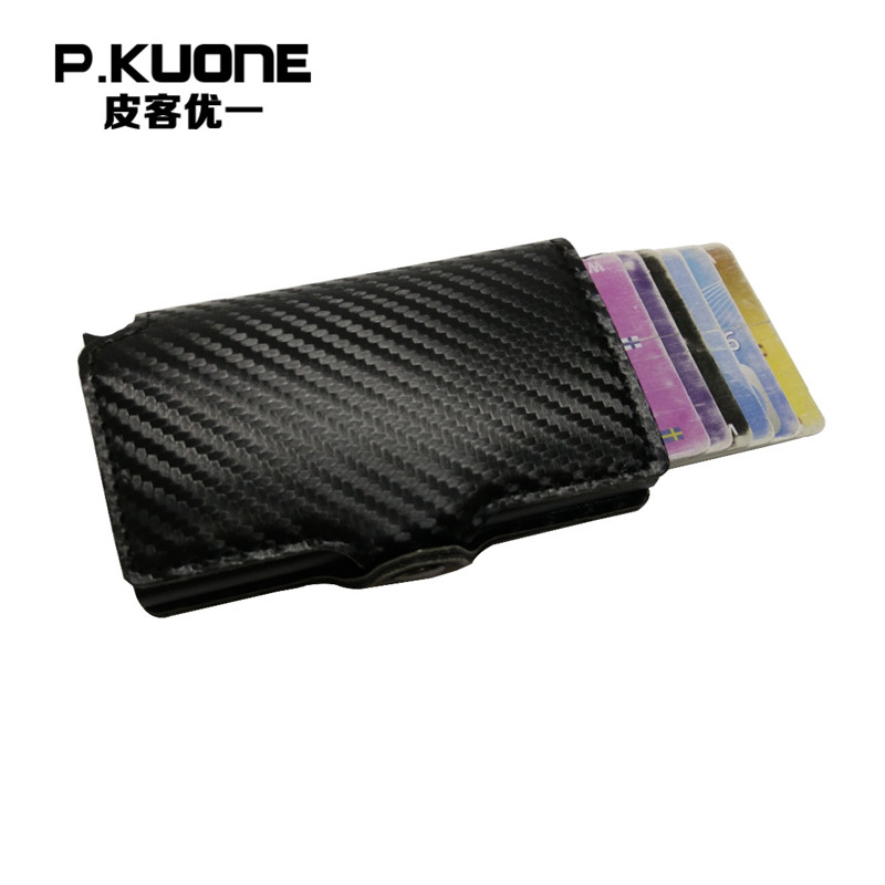P.KUONE RFID Credit Id Card Holder Men Aluminum PU leather Safe Mini Wallet Travel Business PU Leather Money Bag Small Purse fashion solid pu leather credit card holder slim wallet men luxury brand design business card organizer id holder case no zipper