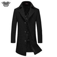 Voreloce бренд Европейский стиль мужская шерстяное пальто 2018 новая зимняя сплошной цвет Slim Fit плащ Мужская шерстяное пальто черный серый темно-