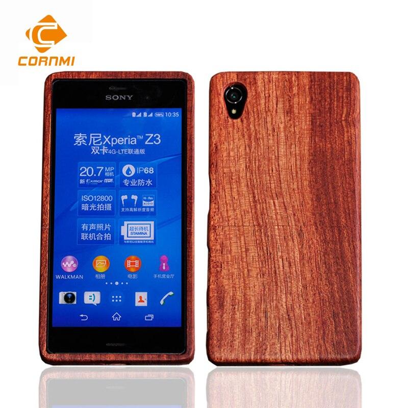 Retro De Madera De Bambú Caja Del Teléfono Para Sony Xperia Z2 Contraportada de
