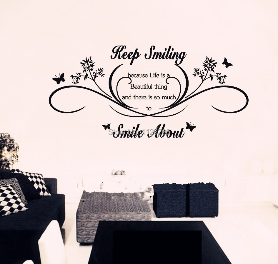 Buy keep smiling wall art quotes for Decal wall art mural