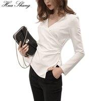 Korean Fashion 2017 Women Autumn Long Sleeve White Blouse Elegant V Neck Cross Fold Slim OL