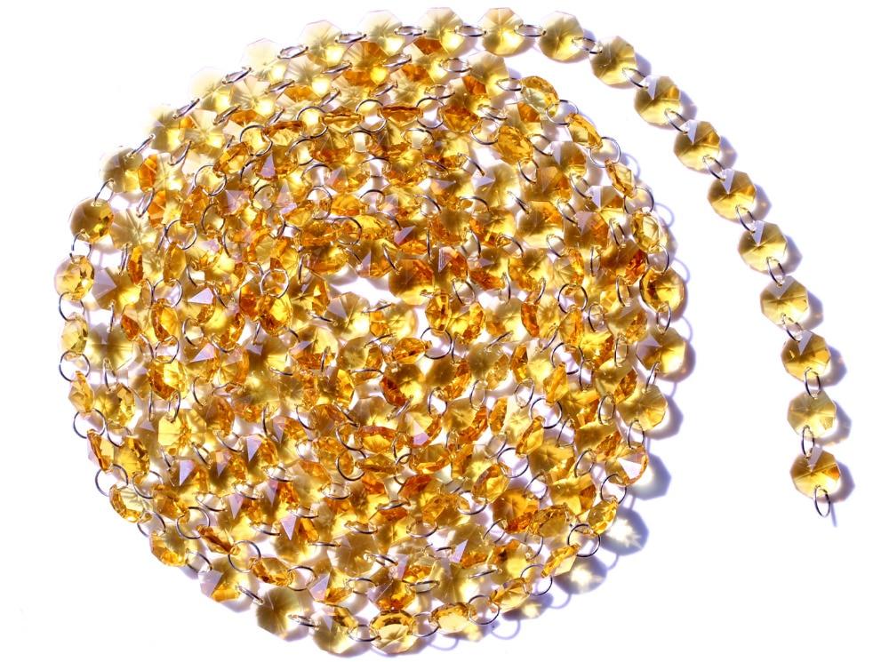 Garland Chakra Spectra 12Feet Diamond Prisms Golden Glass Crystal Octagon Beads 14mm Wedding Chandelier Parts M02160-4