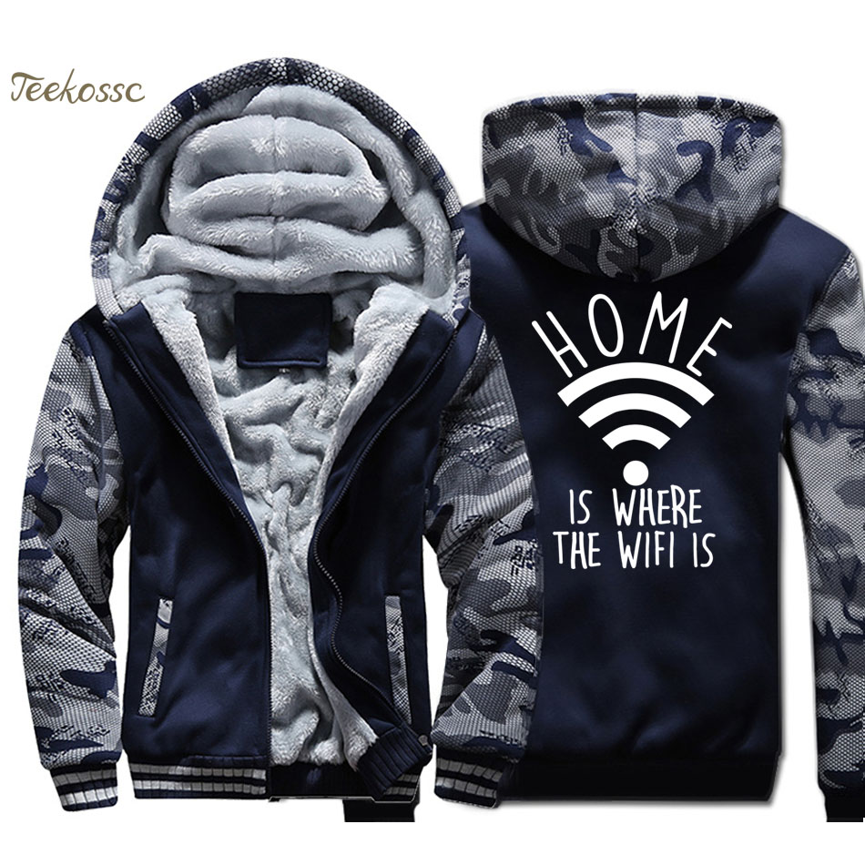 Home is Where The WiFi is Jacket Men Internet Fashion Slogan Hooded Sweatshirt Coat Winter Thick Fleece Warm Zipper Funny Hoodie
