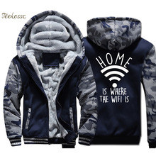 Home is Where The WiFi Jacket Men Internet Fashion Slogan Hooded Sweatshirt Coat Winter Thick Fleece Warm Zipper Funny Hoodie