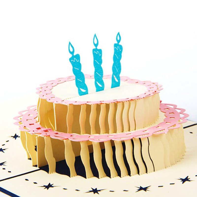 4 Pieceslot 3d Birthday Cake Greeting Card Origami Paper Pop Up