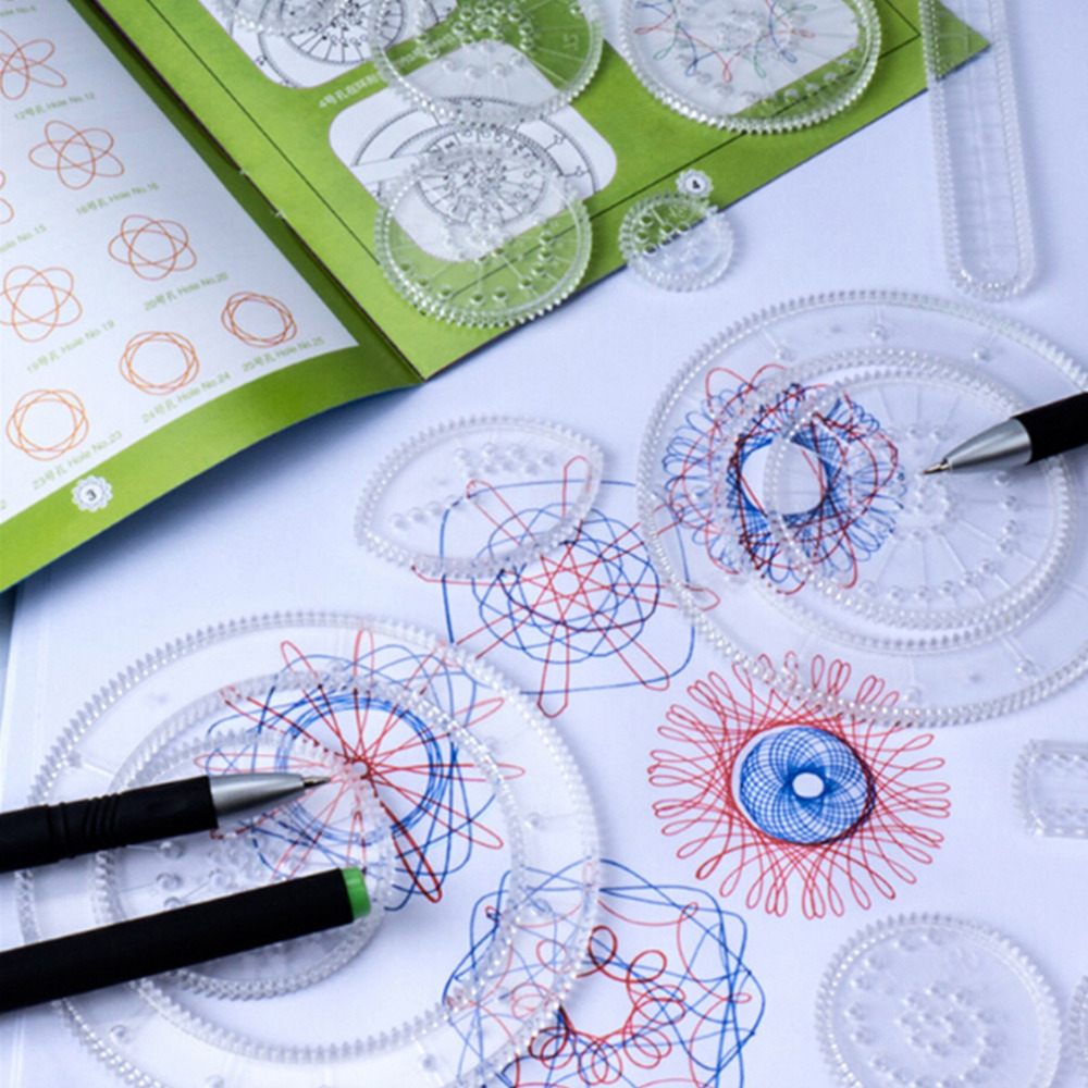 Drawing Rulers,Spirograph Deluxe Set Spiral Designs Interlocking Gears & Wheel,adult & Kid's Educational Toy,creative Toy 3pens