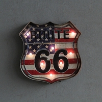 USA ROUTE 66 Large LED Lights Tin Sign Vintage Iron Painting Cafe Bar Decor Retro Mural Poster Metal Wall Sticker