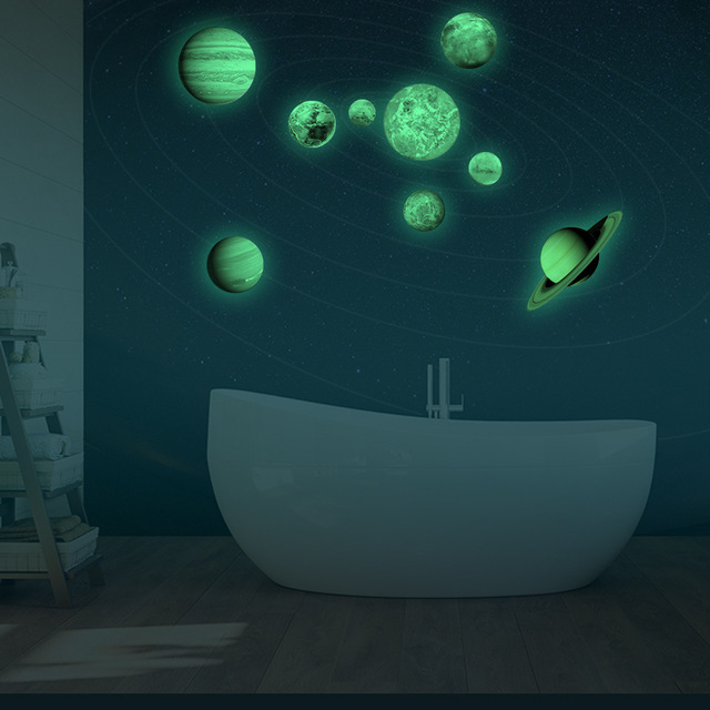 Solar System Nine Planets Glow Wall Sticker In The Dark Luminous DIY Living Wallpaper Decor Adesivo