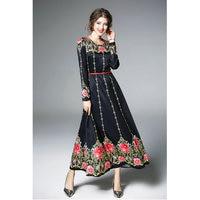 Mujeres vestido de primavera floral impresión moda Rosa impresión vestidos buena calidad estilo fresco de las mujeres casual Primavera Verano