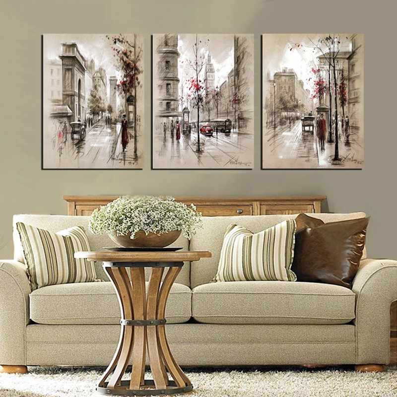 Abstract City Street Landscape Decorative Modular Picture Wall Art Canvas Painting Poster for Living Room No Framed