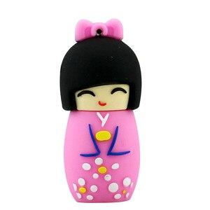 Image 2 - Karikatür USB Flash sürücü japon bebek Kimono kız kalem sürücü 4GB 8GB 16GB 32GB 64GB 128GB USB 2.0 Flash bellek sopa kalem sürücü