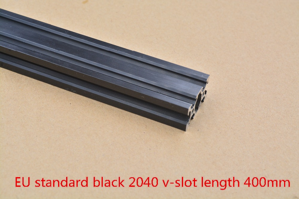 2040 Aluminum Extrusion Profile European Standard 2040 V-slot Black Length 400mm Aluminum Profile Workbench 1pcs