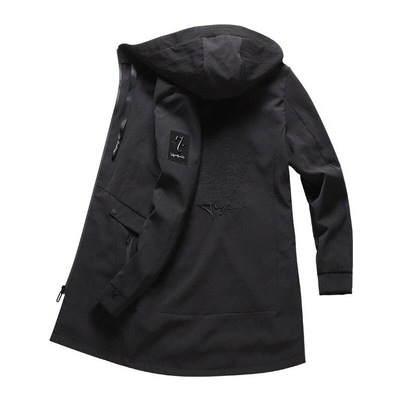 Waterproof Windbreaker Jacket Men Hooded Long Overcoats Oversized Mens Jackets And Coats Spring Autumn Winter Trench Brand Black