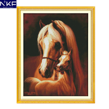 NKF Deep love of the horse mother and her baby animal needlepoint patterns cross