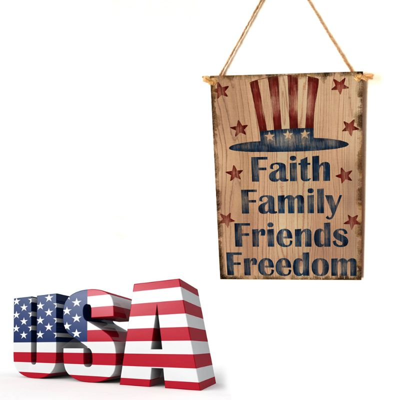 Image 2 - Vintage Wooden Hanging Plaque Faith Family Friends Freedom Sign Board Wall Door Home Decor Independence Day Party Gift-in Plaques & Signs from Home & Garden
