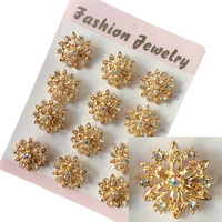 Fashion Jewelry Wholesale Women Gold Plated Wedding Brooches 12 Pcs Lot Crystal Flower Brooch Pins Collar
