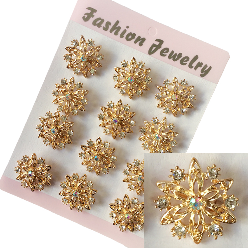 Fashion jewelry wholesale Women Wedding Brooches 12 pcs lot Crystal Flower  brooch pins collar pins 620e53f39383