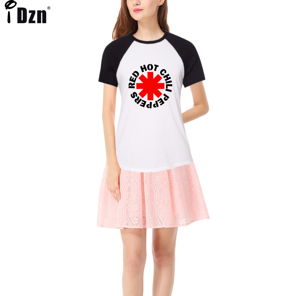 Design your own t-shirt hot pink - Red Hot Chili Peppers T Shirt Women 2017 Summer Rock Band Raglan Short Sleeve Tshirts Personality