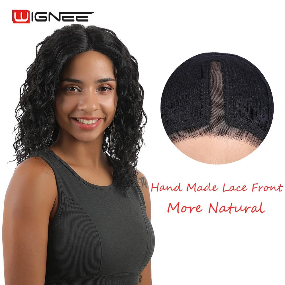 Wignee Short Afro Curly Human Hair Wigs For Women Remy India Hair Natural Black Curly Lace Part Human Wigs For African American