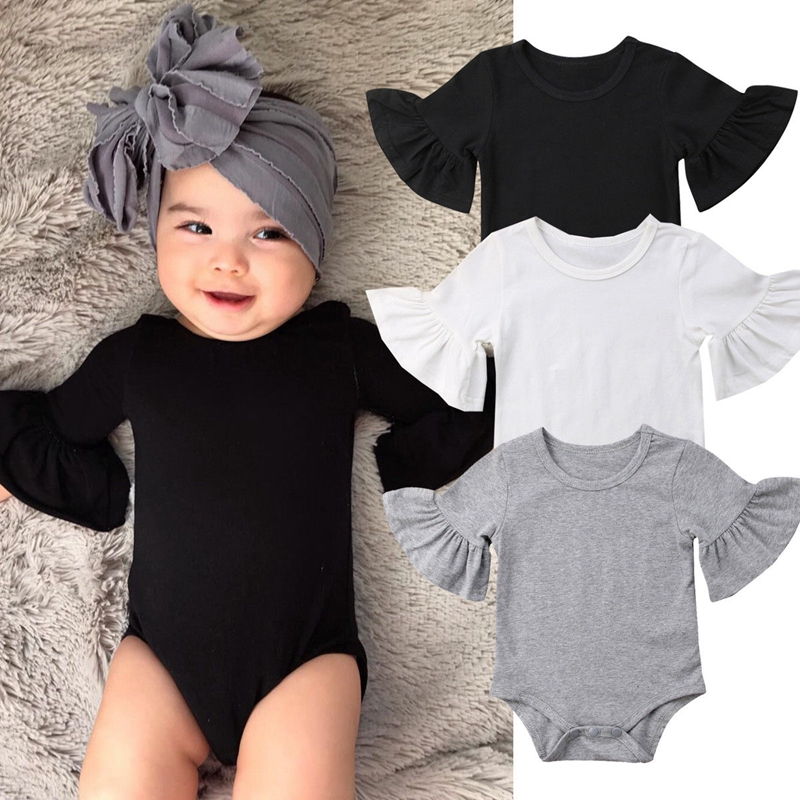 0-24M Newborn Baby Girls   Romper   Flare Sleeve Solid Black White Grey Casual Outfits Baby Clothes Summer kids Suit